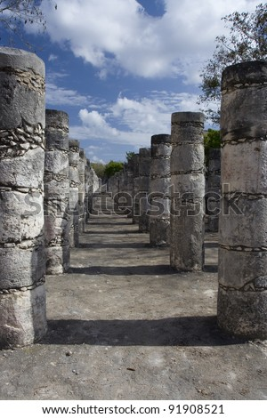 Chichen Itza columns - stock photo