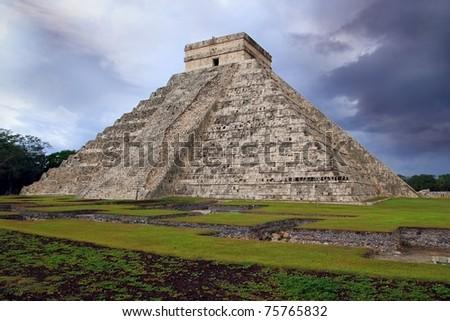 Chichen Itza el Castillo Kukulcan Mayan temple cloudy sky Mexico Yucatan - stock photo
