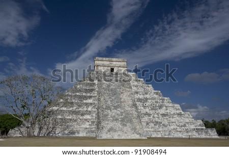 Chichen Itza Great Pyramid, center - stock photo