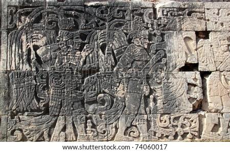 Chichen Itza hieroglyphics mayan pok-ta-pok ball court  Mexico - stock photo