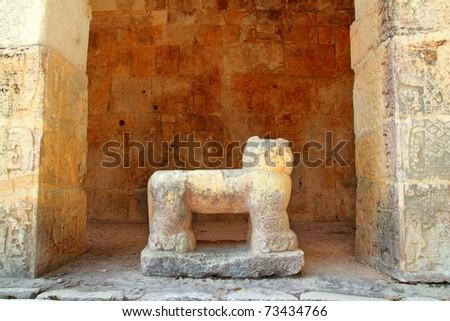 Chichen Itza Jaguar throne Mayan temple figure Mexico Yucatan - stock photo