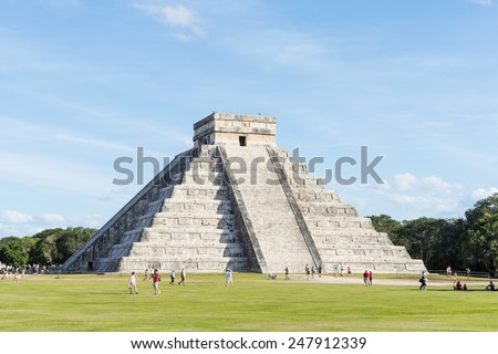 CHICHEN ITZA - JANUARY 19: Tourists visiting Chichen Itza, one of the most visited sites in Mexico on 19 January 2015 in Chichen Itza, Mexico. It is one of new 7 wonders in the world. - stock photo