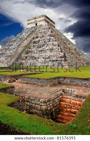 Chichen Itza Kukulcan Mayan Pyramid El Castillo over underground excavation - stock photo