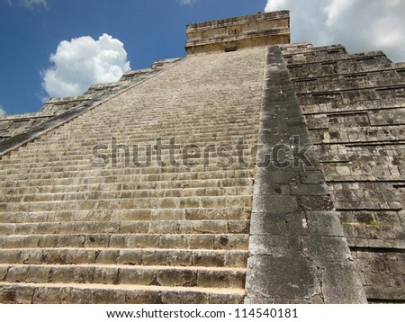Chichen Itza Kukulkan pyramid in the Yucatan, Mexico - stock photo