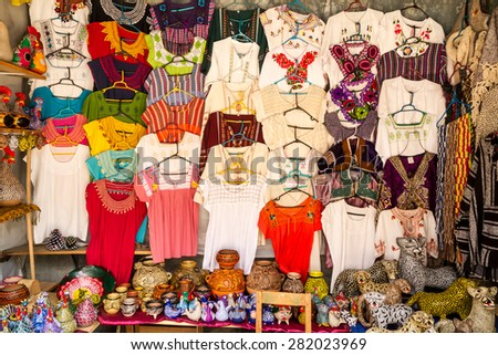 Chichen Itza, MEXICO - March 29, 2013: Colorful women's clothing in Cichen Itza from mexican tradition, Chichen Itza, MEXICO - stock photo