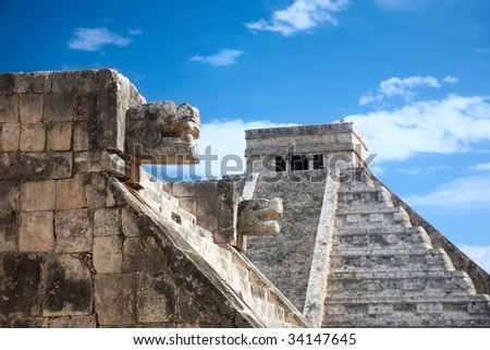 Chichen Itza, Mexico, one of the New Seven Wonders of the World, view from the Venus platform - stock photo