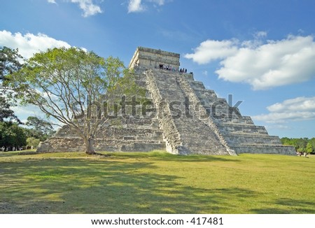 Chichen Itza pyramid with tree in Mexico. (14MP camera, super detail)