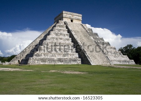 Chichen Itza Pyramid, Wonder of the World, Mexico - stock photo