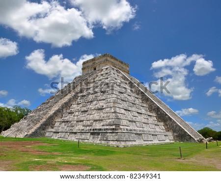 Chichen Itza Pyramid, Wonder of the World, Mexico, yucatan - stock photo