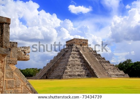 Chichen Itza snake and Kukulkan Mayan temple pyramid Mexico Yucatan [Photo Illustration] - stock photo