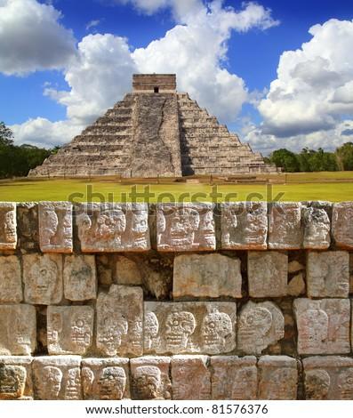 Chichen Itza Tzompantli the Wall of Skulls and Kukulkan pyramid El Castillo [Photo Illustration] - stock photo
