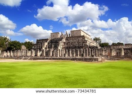 Chichen Itza Warriors Temple Los guerreros Mexico Yucatan - stock photo
