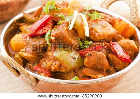 Chichen Vindaloo with Rice - stock photo