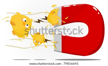 Chick magnet illustration - stock photo