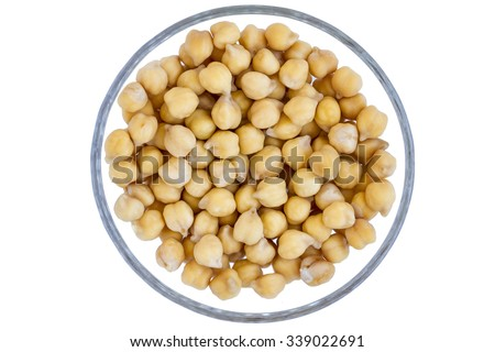 Chick peas on a white background - stock photo