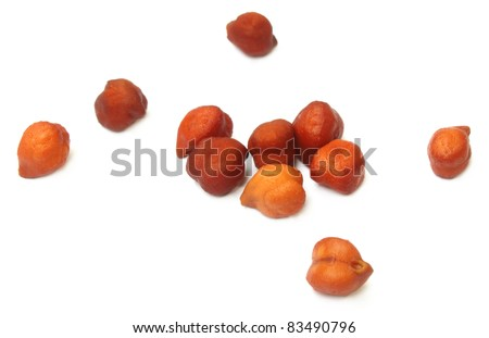 Chick-peas on white background