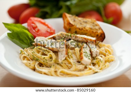 Chicken Alfredo pasta - stock photo