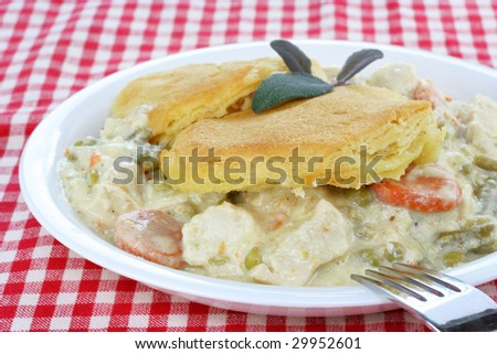 Chicken and Biscuits, Southern style with creamy sauce, vegetables and biscuits.  Topped with a sprig of purple sage. - stock photo