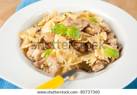 Chicken and Bowtie Pasta Dinner - stock photo