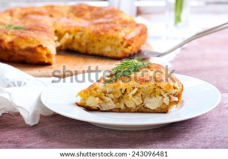 Chicken and cheese savory cake - stock photo