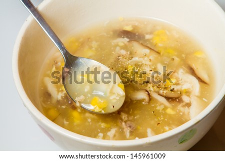 Chicken and corn soup, good for health - stock photo