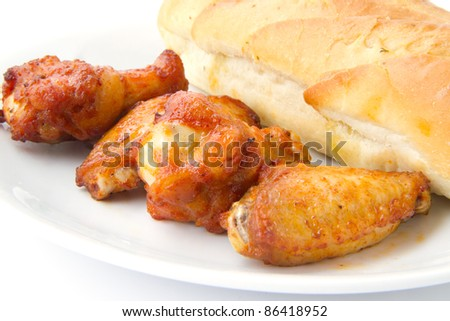 chicken and garlic bread - stock photo