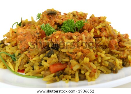 Chicken and prawn rice with pepper, isolated on white - stock photo