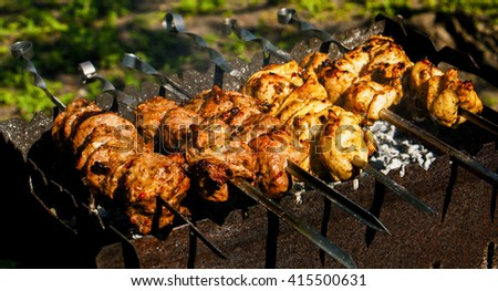 Chicken and veal kebabs barbecues on skewer grill - stock photo