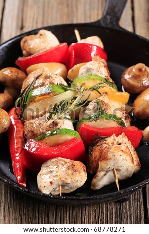 Chicken and vegetable kebabs - stock photo