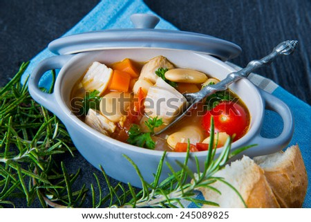 Chicken and vegetable stew.Healthy eating food - stock photo