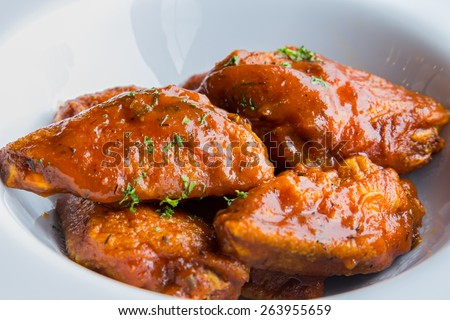 Chicken baked in tomato sauce  - stock photo