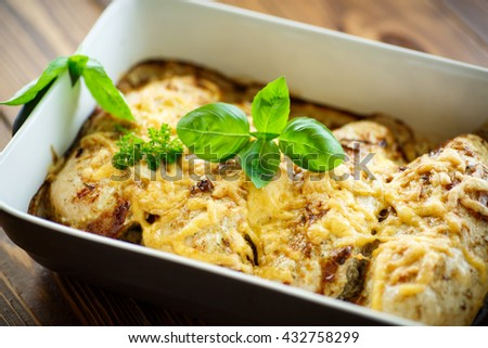 chicken baked with cheese and spices - stock photo