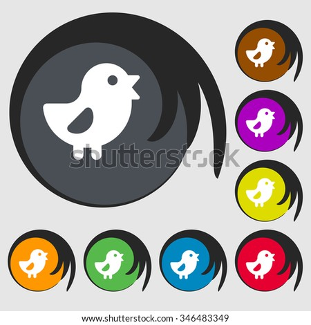 chicken, Bird icon sign. Symbol on eight colored buttons. illustration - stock photo