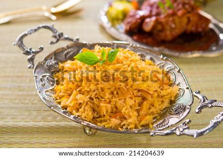Chicken Biryani rice - stock photo