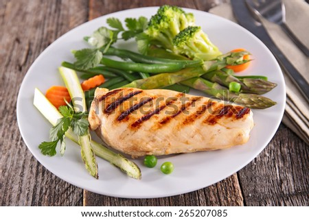 chicken breast and asparagus - stock photo
