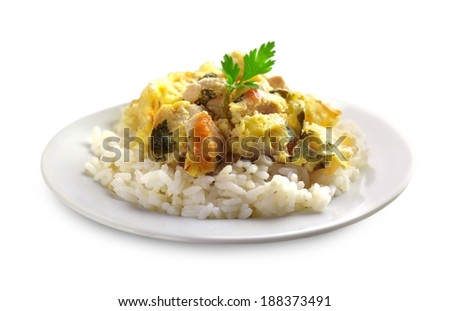 Chicken breast and cauliflower casserole with rice isolated on white background - stock photo