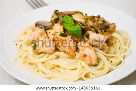 chicken breast and mushrooms with pasta