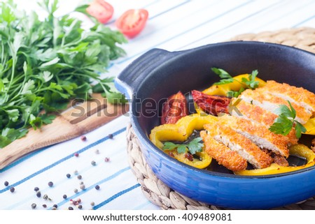 Chicken breast cooked - stock photo