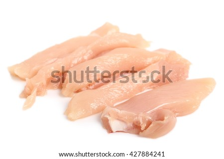 Chicken breast strips. Isolated on a white background. - stock photo