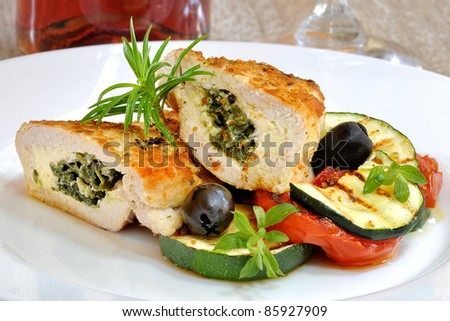 chicken breast stuffed with spinach and cheese - stock photo