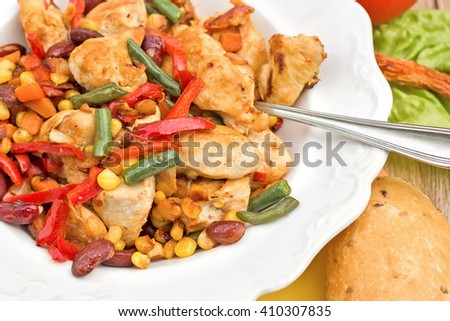 Chicken breast - white meat (chicken meat) with vegetables - stock photo