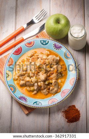 chicken breast with apple paprika and yogurt sauce