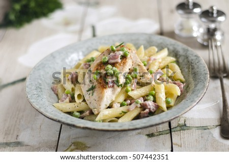 Chicken breast with creamy bacon penne