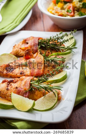 Chicken breast with herbs and couscous salad - stock photo