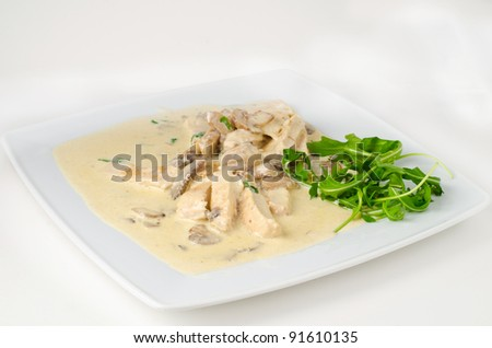 Chicken breast with italian white sauce - stock photo