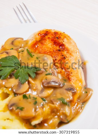 Chicken Breast with Mushroom Sauce and mashed potato