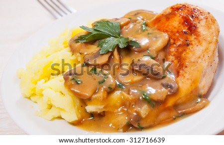 Chicken Breast with Mushroom Sauce and mashed potato - stock photo