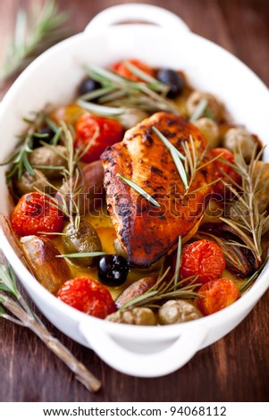 Chicken breast with olives and rosemary. Mediterranean style - stock photo