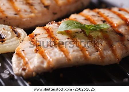 Chicken breast with onions and basil on the grill macro. horizontal