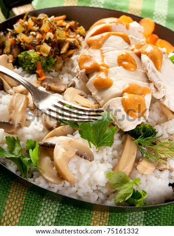 Chicken breast with rice and mushrooms